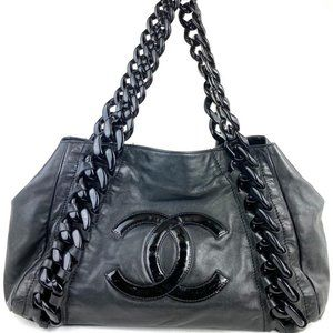 Chanel  Black Leather Modern Chain Tote East West